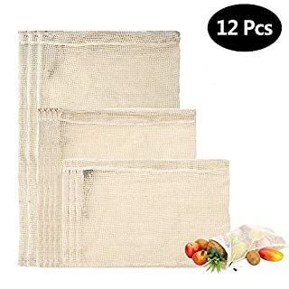Aili Ebhaus Cotton Mesh Produce Bag Natural Cotton Easy to Clean, Zero Waste, Vegetable Preserving Bag Durable Double Stepped Seams Set of 12 (4 Small, 4 Medium, 4 Large Storage Bag