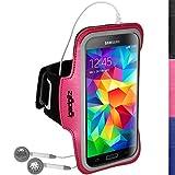 igadgitz Reflektierenden Anti-Rutsch Pink Sports Jogging Armband Laufen Fitness Oberarmtasche für Samsung Galaxy S5 SV MINI SM-G800F Mit Schlüsselfach
