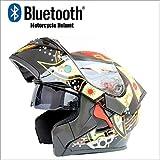 MOPP Modularer Motorradhelm Motorrad-Bluetooth-Helm Stereo-Soundqualität Helm mit Hörnern und Beschlagschutzgläsern aufdeckt Modularer Flip-Up-Bluetooth-Touring-Helm