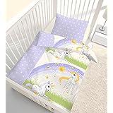 "'Franela Ropa de cama ""Bebé Niña Magic Dream Stars unicornio & Unicorn estrellas en morado, lila–100% algodón–tamaño 40x 60+ 100x 135cm–Fabricado en Alemania"