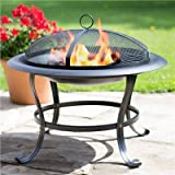 LIVIVO ® Round Outdoor Patio Fire Pit With Spark Guard & Poker - Outdoor Fireplace Heater for Garden Camping BBQ Picnics Holiday Festivals Heater For Logs & Charcoal with Mesh Screen