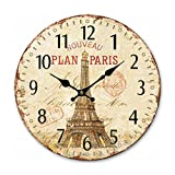 NUOLUX Wanduhren, Eiffelturm Stil nicht ticken leise Holz Wanduhr