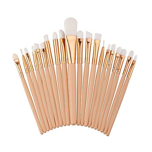 Daorier Pinceaux Maquillage Trousse Brush Cosmétique pour Eyeliner Lip Fondation Poudre Set Brushes Ensemble,20Pcs (Blanc)