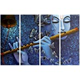 PPD Lord Krishna Painting 4 Frames Glittering Wall Painting Radha Krishna Wall Decorations Drawing Room Scenery For Home Décor SIZE : 40 Cm X 60 Cm By Paper Plane Design