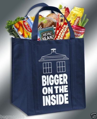 Bigger On The Inside Doctor Who TARDIS Inspired Reusable Grocery (Supplies Dr Who Party)