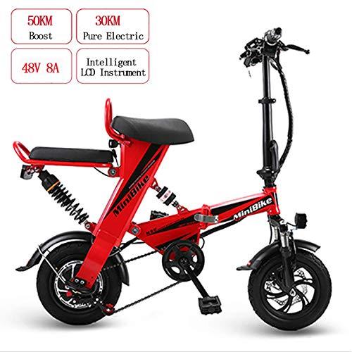 WYD Bicicleta eléctrica de montaña eléctrica para Adultos, Bicicleta eléctrica Plegable 48V 8AH 350W Mini Doble con Resistencia de 30 km y Velocidad máxima de 25 km/h, Frenos de Doble Disco,Red
