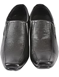 Altitiude Men's Black Leather Formal Slip On Shoes