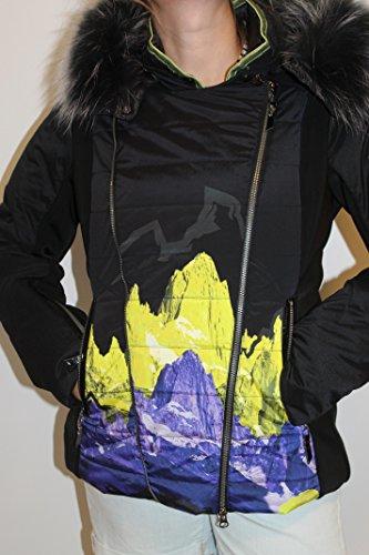 Sportalm Kitzbühel Damen Ski Jacke mit Echt Pelz Hippostyle Schwarz Grün Größe 40 L Neu mit Etikett