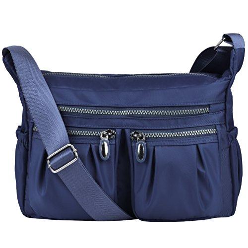 Vbiger le donne casuale multi tasca Borsa a tracolla impermeabile Blu 2