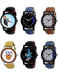 NIKOLA New Heart Mahadev Beard Style Black Blue And Brown Color 6 Watch Combo (B22-B37-B39-B54-B23-B40) For Boys...
