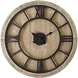 Mobili Rebecca® Reloj Salón Madera Hierro Grande Design Retro Redondo Vintage Decoracíon Pared Hogar Ø 70 cm (Cod. RE6009