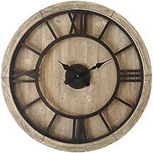 Mobili Rebecca® Orologio da Sala Grande Legno Mdf Ferro Design Retro Rotondo Numeri Romani Arredo Casa Ø 70 cm (Cod. RE6009)