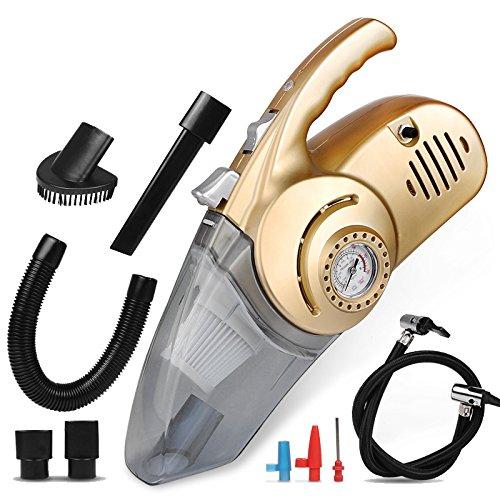 LLZXCQ Auto Staubsauger/Auto Reiniger/Inflator/Auto/Luftpumpe/12V/In-Fahrzeug/Fahrzeug/Wet & Dry/Beleuchtung/High Power/Handheld/Portable, Vakuum/Aufblasbar/Beleuchtung/Test Reifendruck [Tyrant Gold]
