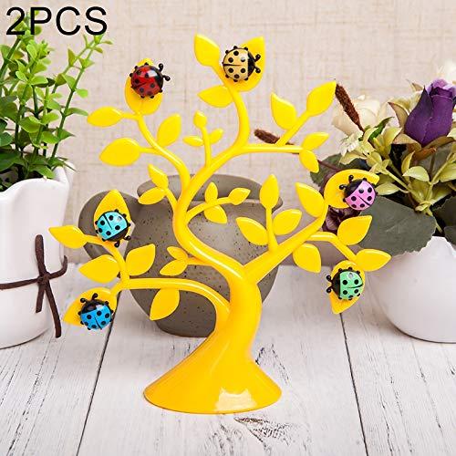 JINYANG Dekoration 2 STÜCKE Kreative Marienkäfer Baum Form Kühlschrank Whiteboard Magnete Desktop Nachricht Aufkleber Memo Clip Halter Home Office Dekoration (Grün) (Farbe : Gelb)