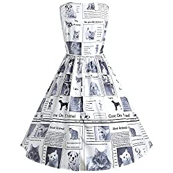 YTJH Vintage Cocktail Party Dress for Women Printed Dress Cat Dog and Journal Dress Sleeveless Round Coller