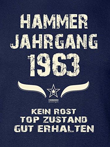 Modisches 54. Jahre Fun T-Shirt zum Männer-Geburtstag Hammer Jahrgang 1963 Farbe: navy-blau Navy-Blau