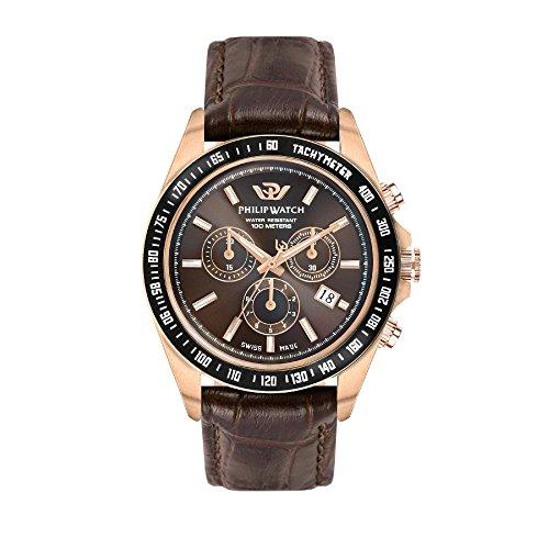 PHILIP WATCH Orologio Cronografo Quarzo Uomo con Cinturino in Pelle R8271607001