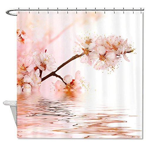 Warrantyll coccinella e fiori di ciliegio tenda doccia in poliestere impermeabile 182,9/x 182,9/cm