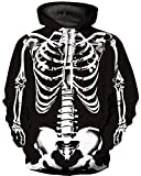 Ocean Plus Hombre 3D Sudaderas Suéter de Lobo Colorido Sudadera con Capucha Cráneo (L/XL (Cofre: 114-134CM), Esqueleto)