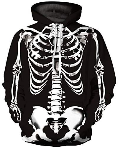 Mehrfarbig Hoodie Schädel Kapuzenpullover Bunt Wolf Pulli Totenkopf Sweatshirt mit Kaputzen (L/XL (Brustumfang: 114-134CM), Skelett) ()