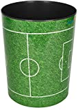 Läufer 26665 Papierkorb mit Motiv Fußballfeld, 13 Liter Mülleimer, perfekt für Das Kinderzimmer, rund, stabiler Kunststoff