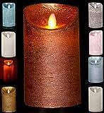 LED Echtwachskerze Kerze Farbauswahl Timer flackernde Wachskerze Kerzen Batterie, Farbe:Kupfer, Größe:12.5 cm