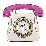 TOOGOO Borsa a tracolla con tracolla in pelle PU a forma di telefono retro' a forma di donna (Bianco + colore rosa)