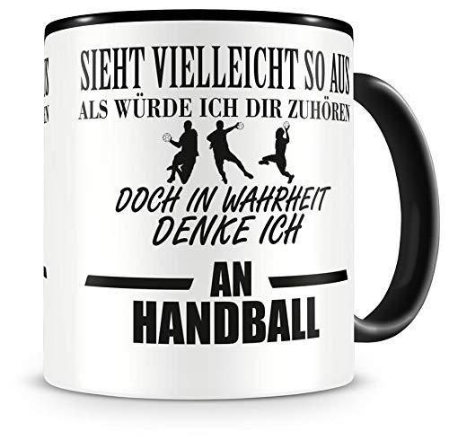 Samunshi® Ich denke an Handball Tasse Kaffeetasse Teetasse Kaffeepott Kaffeebecher Becher
