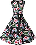 bbonlinedress 50s Retro Schwingen Vintage Rockabilly Kleid Faltenrock Black Flower M