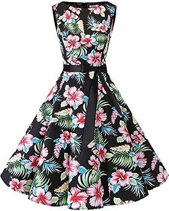Bbonlinedress modèle 2 Vintage rétro 1950's Audrey Hepburn Robe de soirée Cocktail année 50 Rockabilly,Black Flower XS