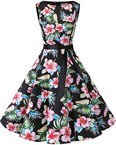 bbonlinedress 50s Retro Schwingen Vintage Rockabilly Kleid Faltenrock Black Flower L