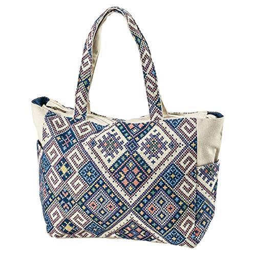 LaFiore24 Einkaufstasche Damen Shopper Ethno Grosse XXL Strandtasche Badetasche Schultertasche Reissverschluss seitliche Taschen blau