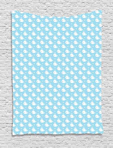 ABAKUHAUS Wal Wandteppich, Blaue Baby-Dusche-Design, Wohnzimmer Schlafzimmer Heim Seidiges Satin Wandteppich, 150 x 200 cm, Hellblau Weiß