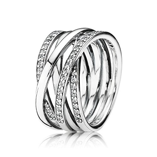 Pandora - 190919cz-54, anello in argento con zirconia donna, bianco, 16