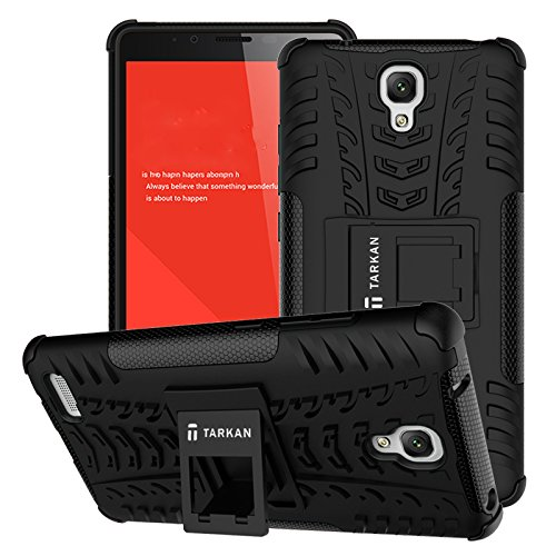 TARKAN Hard Armor Hybrid Rubber Bumper Flip Stand Rugged Back Case Cover For Xiaomi Redmi Note 3G/4G / Redmi Note Prime [BLACK]