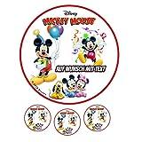 Tortenaufleger Geburtstag Tortenbild Zuckerbild Oblate Motiv: Disney Mickey Mouse 01 (Zuckerpapier)