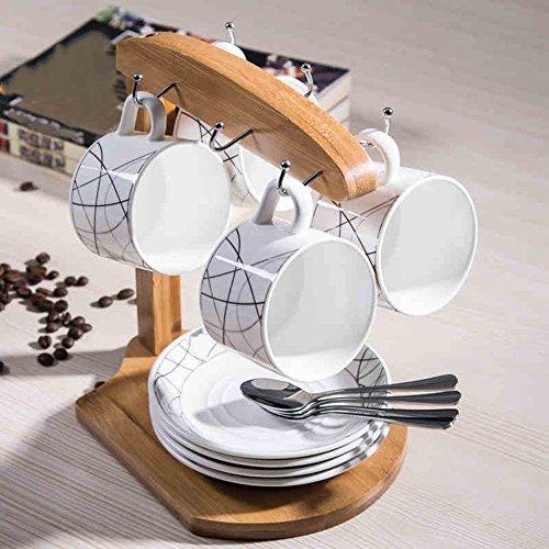 Simple Coffee Mug Package / Céramique Suit / 4 Sets / 4 Coupes 4 Disques (5 couleurs en option) ( couleur : E )