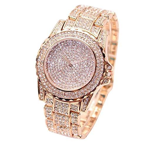 Damen Uhren, BBring Frauen Elegant Mode Luxus Diamanten Analog Quarz Vogue Armbanduhr (Rose Gold)
