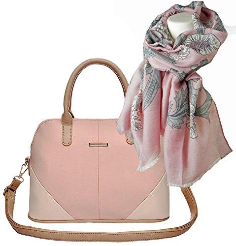 modisch-elegante-damen-handtasche-henkel-tasche-geschenk-set-mit-damen-schal-im-bluten-design-mit-ba