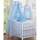 Ciel de lit bébé enfant en tissu bleu à coeurs