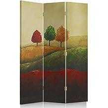 Feeby Frames Biombo impreso sobre lona, tabique decorativo para habitaciones, a una cara, de 3 piezas (110x150 cm), PAISAJE, ROJO, VERDE, AMARILLO