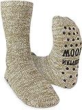 Winterhausschuhe mit ABS-Druck - wärmende Wollsocken, Haussocken mit Noppen - Anti-Rutsch-Sohle für Damen und Herren Farbe 1 Paar - Beige-meliert Größe 43/46