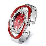 JSDDE Uhren,Elegant Damen Strassstein Oval Nebelfleck Spangenuhr Armbanduhr Analog Quarzuhr,Rot