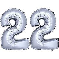 DekoRex® número globo decoración cumpleaños brillante para aire en argentado 40cm de alto No. 22