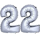 DekoRex ® Folienballon Zahlenballon Luftballon Geburtstag Deko 40cm Silber Zahl: 22