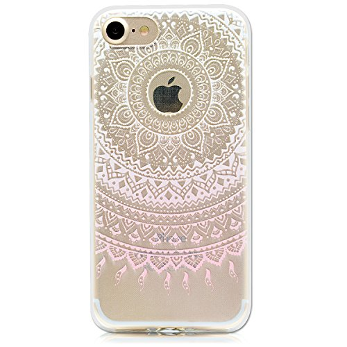 Coque iPhone SE, Etui iPhone 5S, SpiritSun Etui Coque TPU Slim Bumper pour Apple iPhone SE / 5 / 5S Souple Housse de Protection Flexible Soft Case Cas Couverture Anti Choc Mince Légère Transparente Si Mandala Rose
