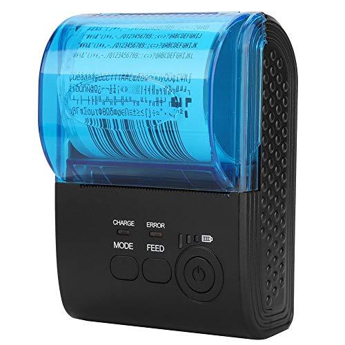 Pokerty Thermodrucker, 57 x 50 mm, 70 mm/s Drahtloser Thermodrucker, tragbarer Drucker mit automatischem Schlaf-Weckruf für die Geschäftslogistik(EU-Stecker) -