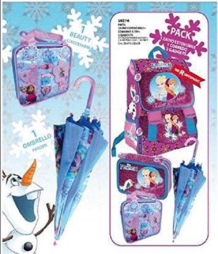 Schulranzen Eiskönigin, erweiterbar, mit Beleuchtung, Stifte-Etui mit 3Etagen, Regenschirm, Kulturtasche mit Zubehör