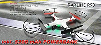 NCC ®-QUADROCOPTER RAYLINE R90 MEN'S FPV TRANSMISSION 2.4 GHZ WITH DROHNE - 5200 mAh POWER BANK by NCC®RAYLINE