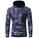 IMJONO Männer Herbst Winter Casual Camouflage Slim Fit Long Sleeve Hoodie Top Bluse (EU-50/CN-2XL,Blau)